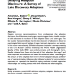 New Publication--Delaying Adoption Disclosure: A Survey of Late Discovery Adoptees